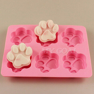 6-Cat's Paw Silicone Fondant Molds Cake Soap Cookies Chocolate Baking Tin Mould