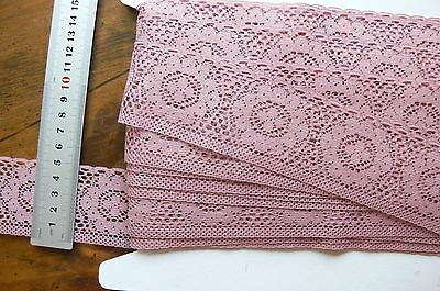 Polyester TEA ROSE Edge Floral Lace 5 Metres 50mm Wide Flt1