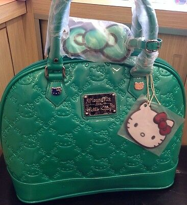 LOUNGEFLY HELLO KITTY EMERALD   PATENT EMBOSSED TOTE BAG  ( 100%Brand New )