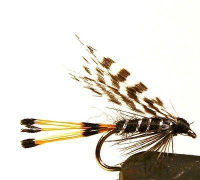 ICE FLIES. Wet flies. Teal and black. Pick a size (4-pack). Size 8 - 16.