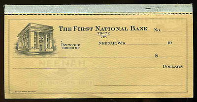 Original vintage 1940's The First National Bank Neenah Wisconsin Checkbook