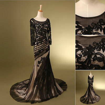 Plus Size Long Sleeve Evening Party Gowns Mother of the Bride Dress Black Formal