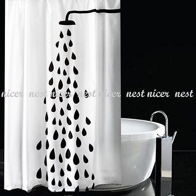 Black Water Droplet Fabric Shower Curtain 2m Long New Free Shipping