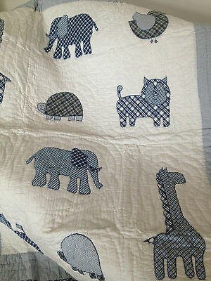 Baby Boy Zooland Cot Quilt  Appilqued Nursery Quilt /  Blanket