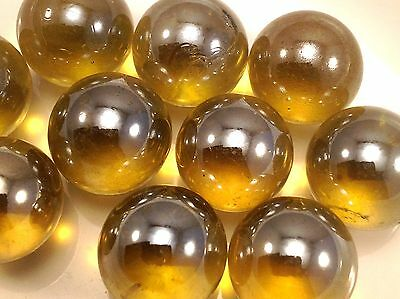 "5/8"" Glass Marbles AMBER CATHEDRAL SHINY 1 LB 75 PCS M51"