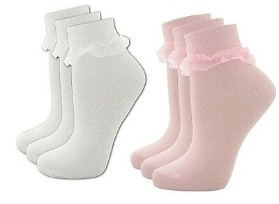 Girls 3Pk Cottonique Socks  Frill Trim 3 Pairs Pink White Pack 43B188 / 43B187