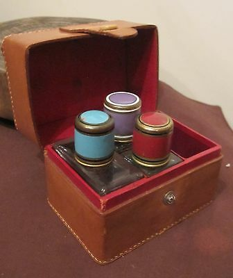 antique high quality leather glass enamel bronze perfume cologne bottle box set