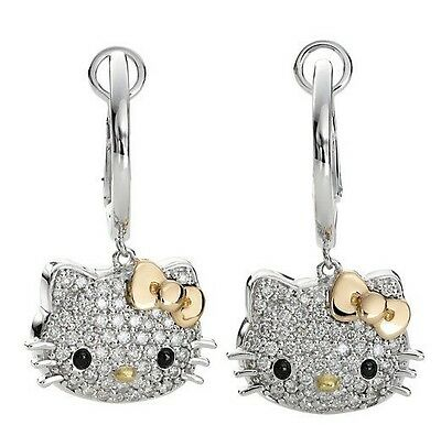 NEW Hello Kitty Silver Gold Bow Crystal Dangling Dangle Earrings