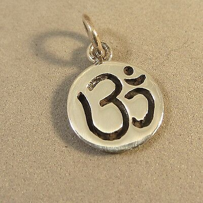 .925 Sterling Silver OM SIGN on Disc CHARM Pendant Aum Omkara Hindu NEW 925 SY05