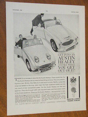 1960 Austin Healey 3000 and Mark 1 Sprite original full page advertisement