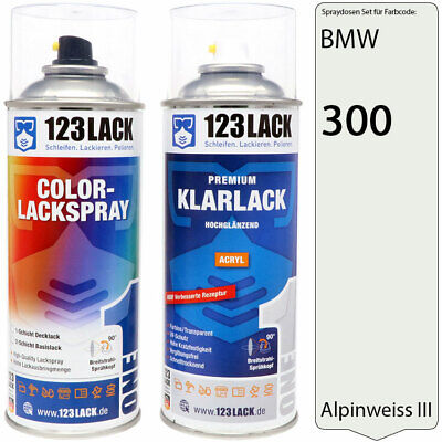 Lackspray BMW 300 ALPINWEISS 3 III Autolack + Klarlack im Set 2x400ml Spraydose