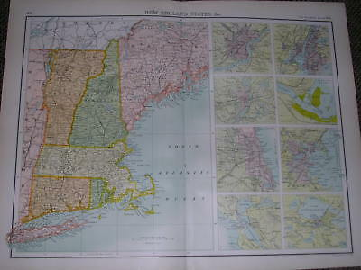 1898 LARGE VICTORIAN MAP NEW ENGLAND STATES ETC AMERICA