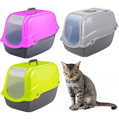 Portable Hooded Pet Toilet Litter Tray with Ventilation Slits, Handle & Tray