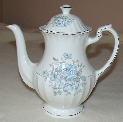 j & g meakin class white coffee pot light blue rosees platinum trim fluted rim
