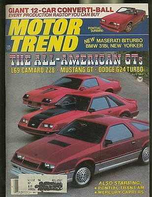 MOTOR TREND MAGAZINE JULY 1983 THE ALL-AMERICAN GTS GIANT 12-CAR CONVERTI-BALL