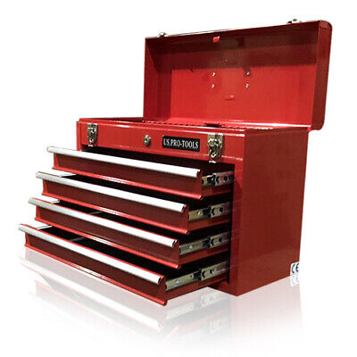 43 US Pro Tools Top Tool Box Chest cabinet - mobile steel storage red 4 DRAWER
