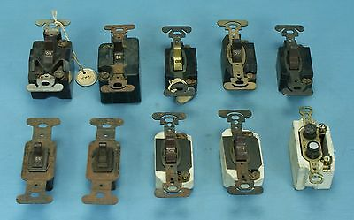 Vintage MIXED LOT of 10 ON OFF PUSH BUTTON LIGHT SWITCH PARTS BAKELITE HUBBELL