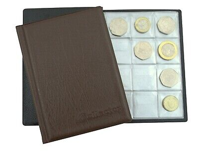 COLLECTOR BLACK COIN ALBUM 96 coins perfect for 50p and £1 ‎€1 €2 COINS BOOK BL4