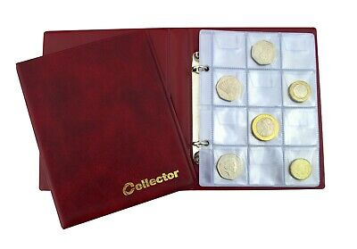 Coin Album 120 Medium Size Coins  50p 50 pence £1 £2 Olympic Folder Book - RED