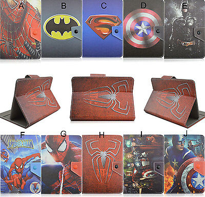 """Universal Fold Super Hero Kids Cartoon PU Leather Case Cover F 7"""" inch Tablet PC"""