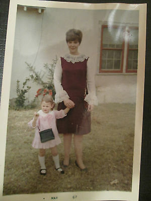 Found 3x5 Vintage 60's Photo of Cute Little Girl and Pretty Mom in Fashion Dress