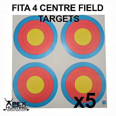 FITA - FOUR CENTRE PAPER TARGETS - 60cm - 5 PACK