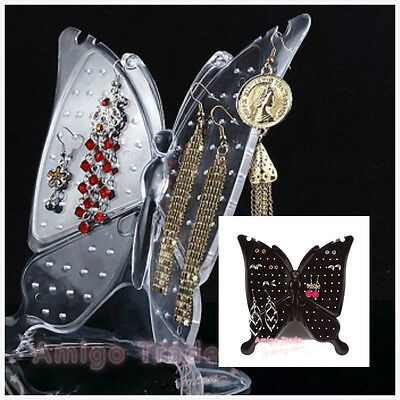 48 holes Acrylic Butterfly Jewellery Earring Display Stand Holder Ear Studs Show