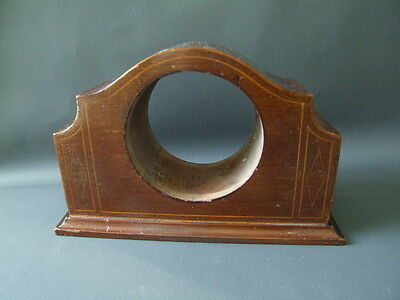 Vintage solid wooden inlaid empty mantle clock case - parts spares