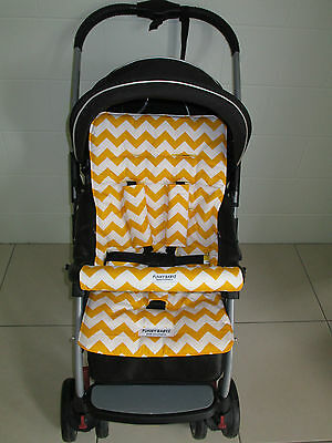 *YELLOW CHEVRON*universal pram liner set-includes front belly bar cover.