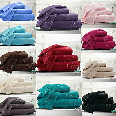 New Luxury Diamante Design 100% Egyptian Cotton Towels 500 GSM