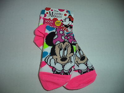 Minnie Mouse Socks Size 6-7.5 With Colorful Hearts