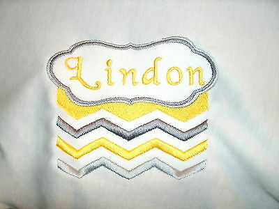 Personalized Infant Toddler  Baby Blanket Cute Yellow & Gray Chevron Stripes ANY