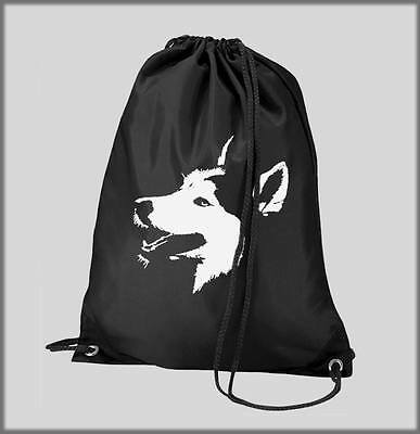 Black Gym Pe Swim Bag Siberian Husky Face Swimming Personalised Sled  Huskies