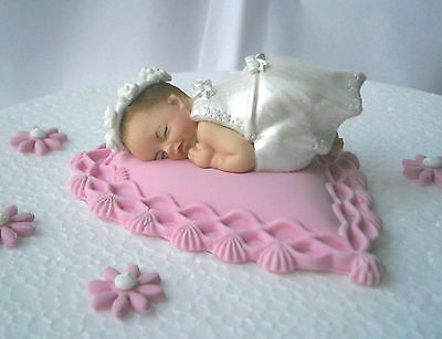 Personalised edible pink heart cushion & baby Christening cake topper