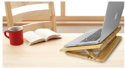 Macally Bamboo Laptop Adjustable Cool Stand - Compatible with Any Laptop Under 1