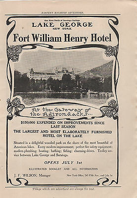 """1908 Fort William Henry Hotel, Lake George   Ad   Harper's Monthly 10x7"""""""