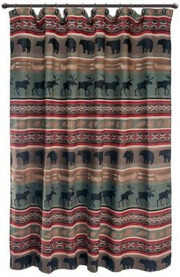 Backwoods Shower Curtain - Rustic - Moose - Bear - Free Shipping