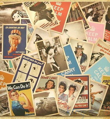 32P/Lot Retro Vintage Post card Postcard Postcards Cards World War II Collection