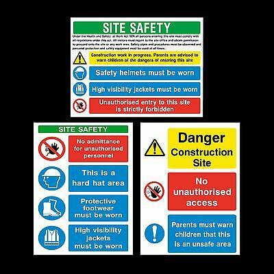Construction Site Safety - Sticker or 6mm Correx Sign - Site Safety - Building