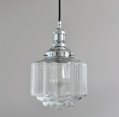 Buster-Industrial Pendant Light-Chrome-St Kilda Clear Glass Deco Shade-Vintage