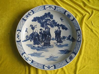 """Wonderful Historic Chinese Old Blue&White Porcelain """"People"""" Plate"""