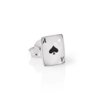 Sterling Silver Domed Ace of Spades Playing Card Mens Single Ear Stud Earring