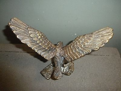 """Solid Brass Eagle 12"""" Wingspan Very Detailed  Mantle Or Desktop Display Unique"""