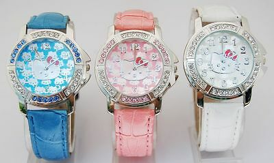Bulk lots 5 pcs HelloKitty Cystal lady Girls wrist Student Watches quartz Z86