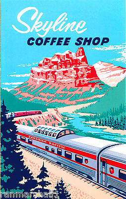 Skyline Coffee Shop Canadian Pacific Train Canada Travel Advertisement Poster