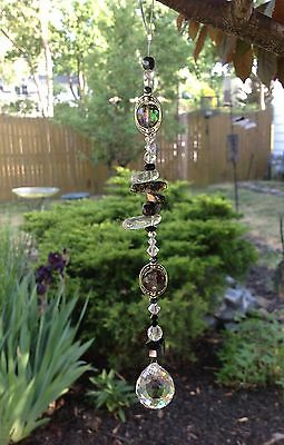 Healing Quartz Stone Suncatcher W/Swarovski Elements Feng Shui Crystal Ball USA