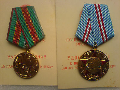 Set 2 USSR Russian Military medal Kiev 50 Years of the Soviet Army Mitroskin