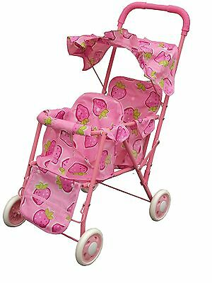 pink double stroller for baby dolls
