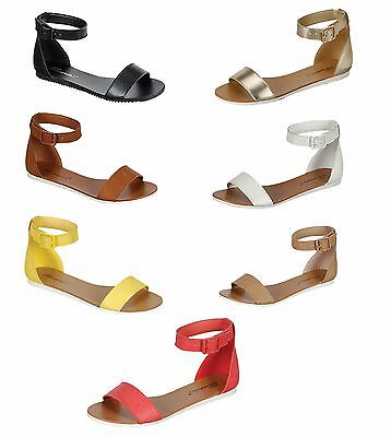 d526872ec08120 New Women Buckle Ankle Strap Contrast White Soles Gladiator Flat Sandals 5.5 -11