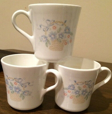 3 Corning/Corelle Country Cornflower Coffee Mugs Cups  Blue Floral in Basket
